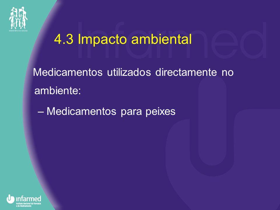 4.3 Impacto ambiental Medicamentos utilizados directamente no ambiente: –Medicamentos para peixes