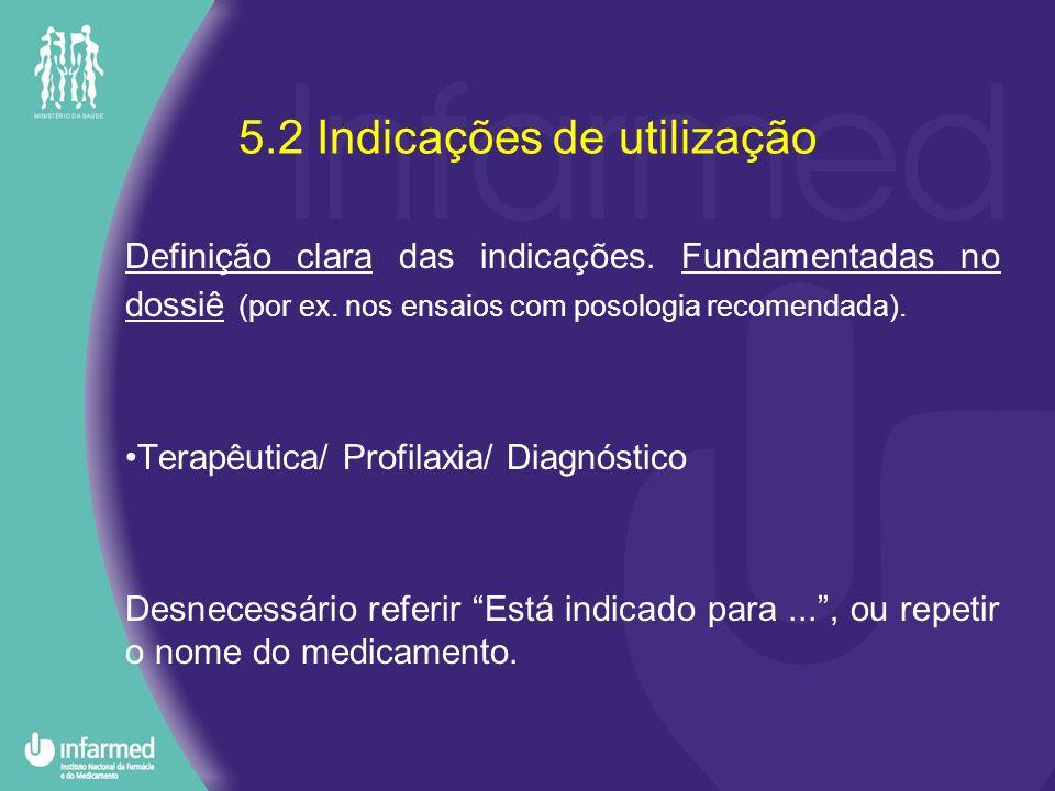 5.2 Indicações de utilização Definição clara das indicações. Fundamentadas no dossiê (por ex. nos ensaios com posologia recomendada). Terapêutica/ Pro