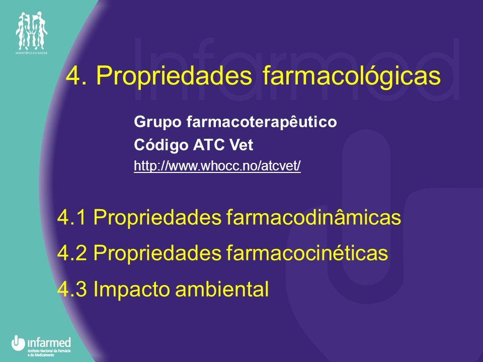 4.2 Propriedades farmacocinéticas Distribuição: –% ligação às proteínas –distribuição pelos tecidos Biotransformação –Metabolismo –% subst.
