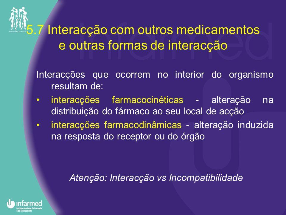 5.7 Interacção com outros medicamentos e outras formas de interacção Interacções que ocorrem no interior do organismo resultam de: interacções farmaco