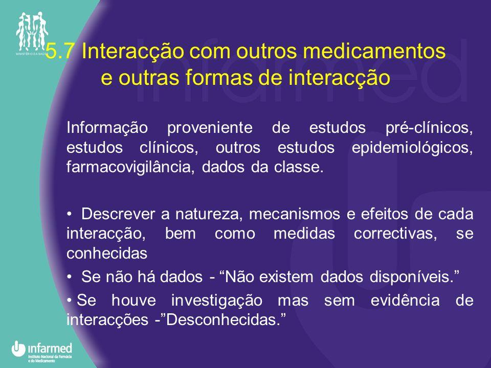 5.7 Interacção com outros medicamentos e outras formas de interacção Informação proveniente de estudos pré-clínicos, estudos clínicos, outros estudos