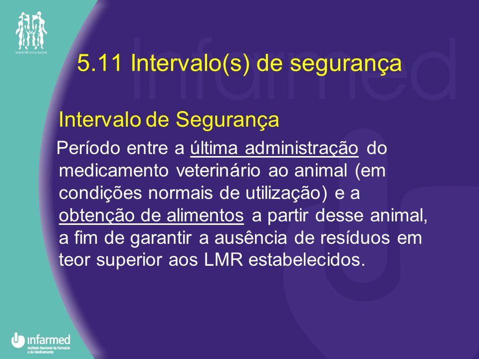 5.11 Intervalo(s) de segurança Intervalo de Segurança Período entre a última administração do medicamento veterinário ao animal (em condições normais