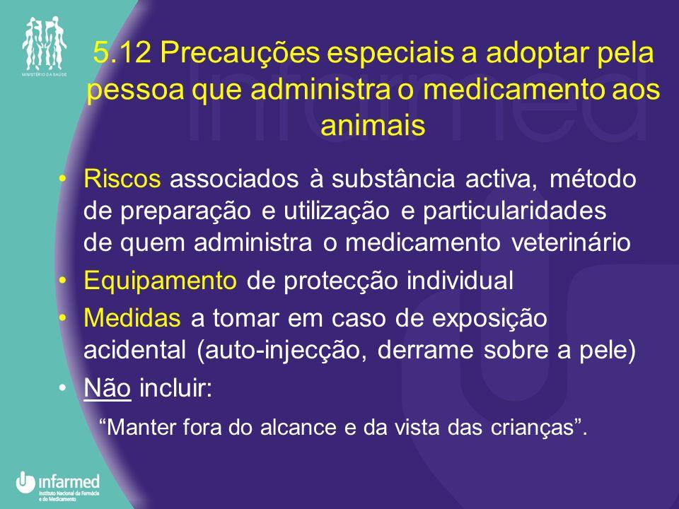 5.12 Precauções especiais a adoptar pela pessoa que administra o medicamento aos animais Riscos associados à substância activa, método de preparação e