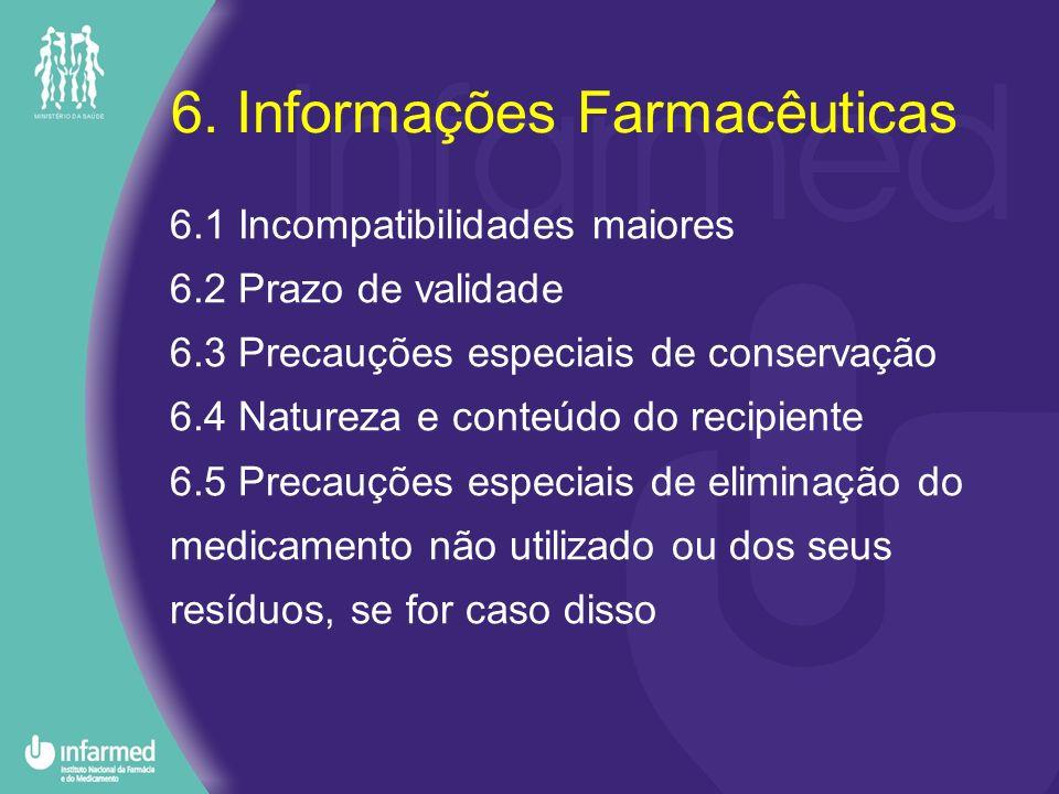 6. Informações Farmacêuticas 6.1 Incompatibilidades maiores 6.2 Prazo de validade 6.3 Precauções especiais de conservação 6.4 Natureza e conteúdo do r