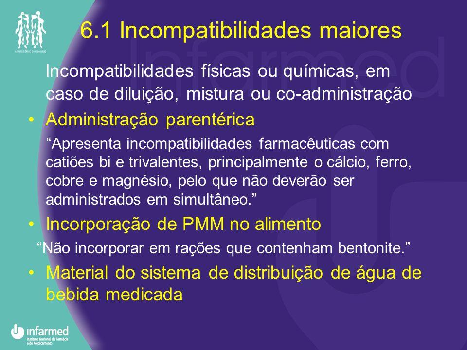 6.1 Incompatibilidades maiores Incompatibilidades físicas ou químicas, em caso de diluição, mistura ou co-administração Administração parentérica Apre
