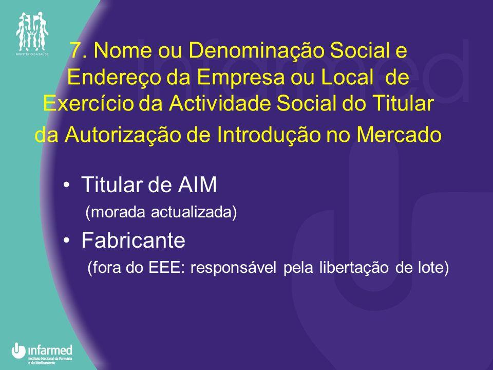 7. Nome ou Denominação Social e Endereço da Empresa ou Local de Exercício da Actividade Social do Titular da Autorização de Introdução no Mercado Titu