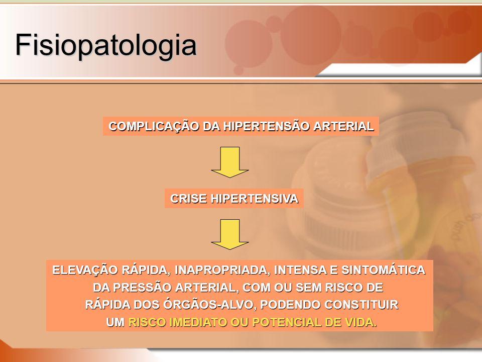 Fisiopatologia ELEVAÇÃO RÁPIDA, INAPROPRIADA, INTENSA E SINTOMÁTICA DA PRESSÃO ARTERIAL, COM OU SEM RISCO DE RÁPIDA DOS ÓRGÃOS-ALVO, PODENDO CONSTITUIR RÁPIDA DOS ÓRGÃOS-ALVO, PODENDO CONSTITUIR UM RISCO IMEDIATO OU POTENCIAL DE VIDA.