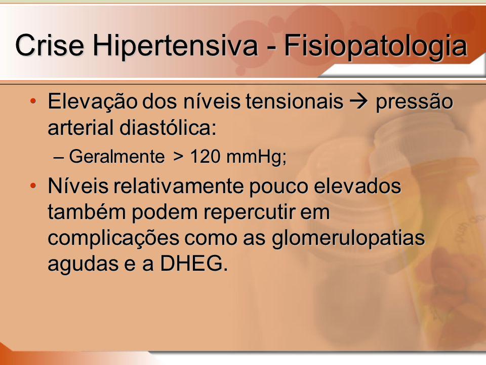 Crise Hipertensiva - Fisiopatologia Elevação dos níveis tensionais pressão arterial diastólica:Elevação dos níveis tensionais pressão arterial diastólica: –Geralmente > 120 mmHg; Níveis relativamente pouco elevados também podem repercutir em complicações como as glomerulopatias agudas e a DHEG.Níveis relativamente pouco elevados também podem repercutir em complicações como as glomerulopatias agudas e a DHEG.