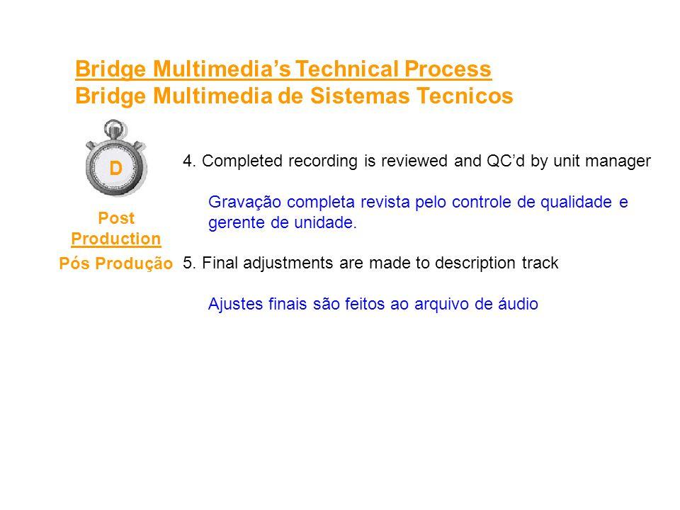 4. Completed recording is reviewed and QCd by unit manager Gravação completa revista pelo controle de qualidade e gerente de unidade. 5. Final adjustm