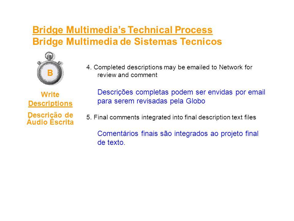 1.System plays back video from server; appears on monitor with corresponding time code Sistema passa o vídeo pelo servidor; aparece no monitor com o código de tempo correspondente.