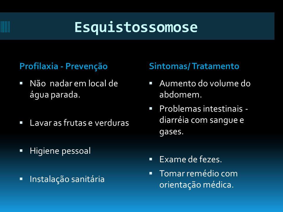 Esquistossomose Profilaxia - PrevençãoSintomas/ Tratamento Não nadar em local de água parada.