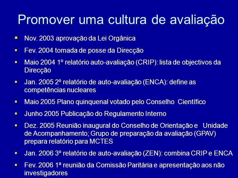 Promover uma cultura de avaliação Nov. 2003 aprovação da Lei Orgânica Fev.