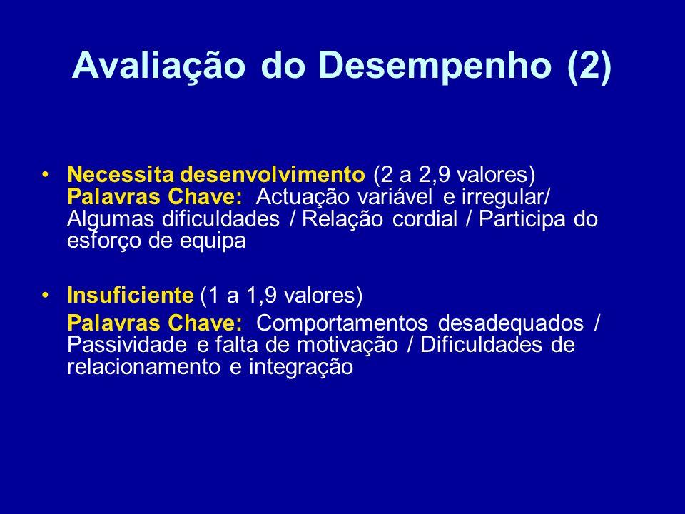 Avaliação do Desempenho (2) Necessita desenvolvimento (2 a 2,9 valores) Palavras Chave: Actuação variável e irregular/ Algumas dificuldades / Relação cordial / Participa do esforço de equipa Insuficiente (1 a 1,9 valores) Palavras Chave: Comportamentos desadequados / Passividade e falta de motivação / Dificuldades de relacionamento e integração