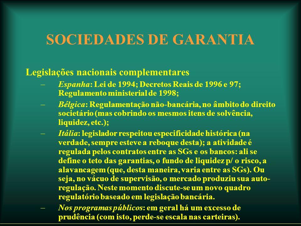 SOCIEDADES DE GARANTIA Legislações nacionais complementares –Espanha: Lei de 1994; Decretos Reais de 1996 e 97; Regulamento ministerial de 1998; –Bélgica: Regulamentação não-bancária, no âmbito do direito societário (mas cobrindo os mesmos itens de solvência, liquidez, etc.); –Itália: legislador respeitou especificidade histórica (na verdade, sempre esteve a reboque desta); a atividade é regulada pelos contratos entre as SGs e os bancos: ali se define o teto das garantias, o fundo de liquidez p/ o risco, a alavancagem (que, desta maneira, varia entre as SGs).