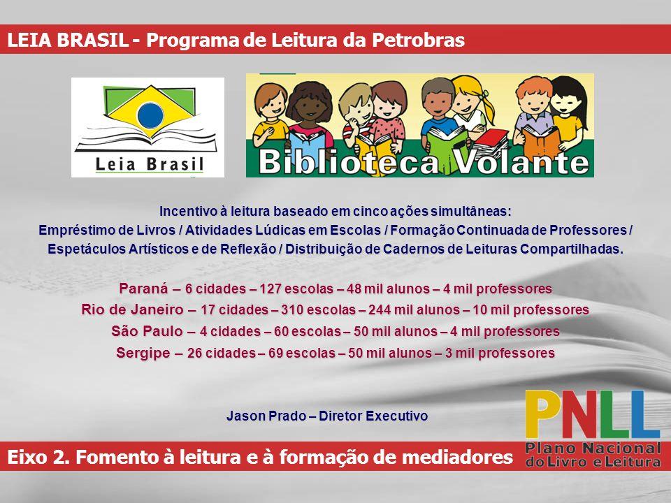 Eixo 2. Fomento à leitura e à formação de mediadores LEIA BRASIL - Programa de Leitura da Petrobras Incentivo à leitura baseado em cinco ações simultâ