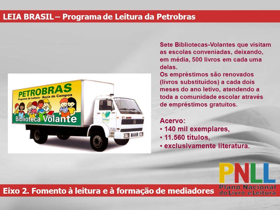 Eixo 2. Fomento à leitura e à formação de mediadores LEIA BRASIL – Programa de Leitura da Petrobras Sete Bibliotecas-Volantes que visitam as escolas c