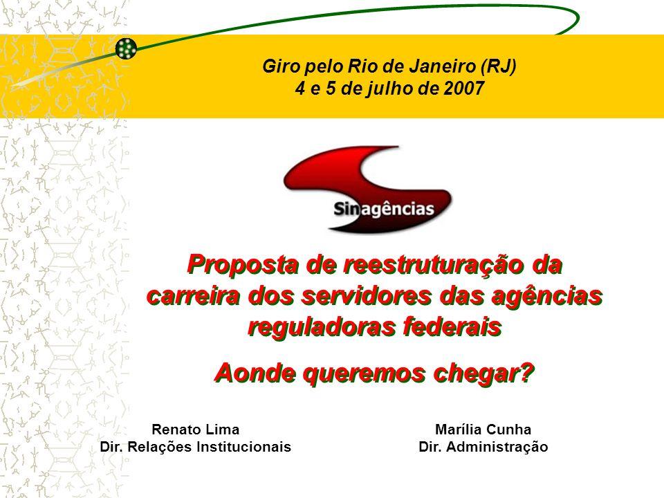 Giro pelo Rio de Janeiro (RJ) 4 e 5 de julho de 2007 Proposta de reestruturação da carreira dos servidores das agências reguladoras federais Aonde que