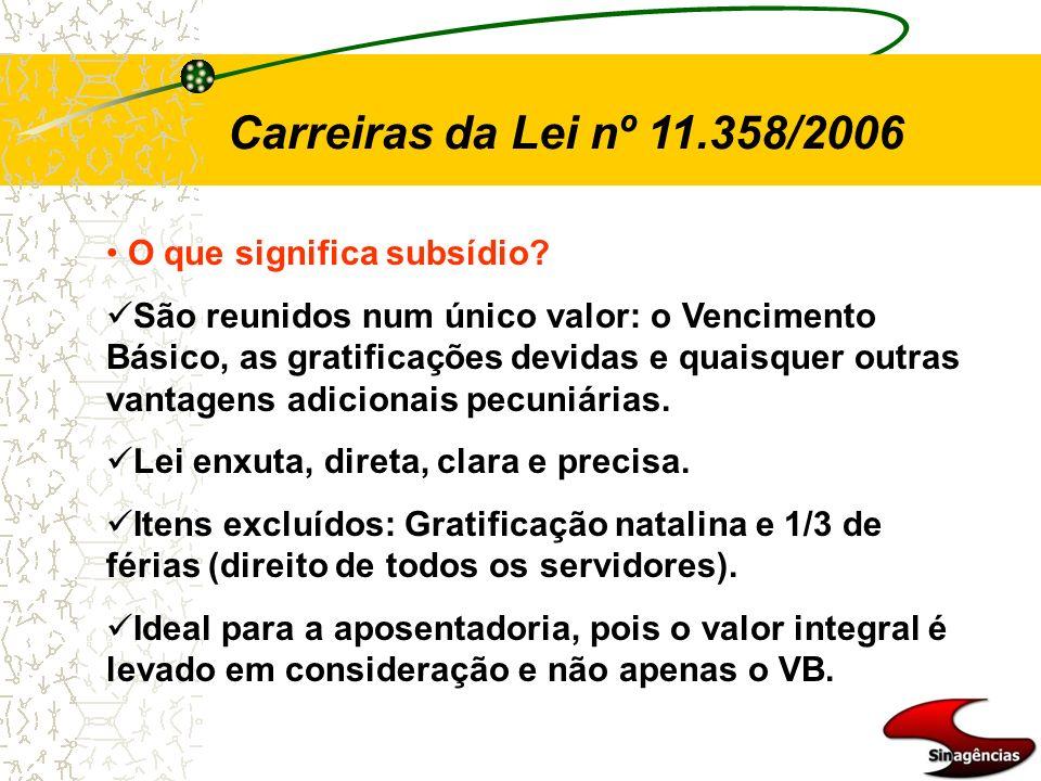 Carreiras da Lei nº 11.358/2006 O que significa subsídio? São reunidos num único valor: o Vencimento Básico, as gratificações devidas e quaisquer outr