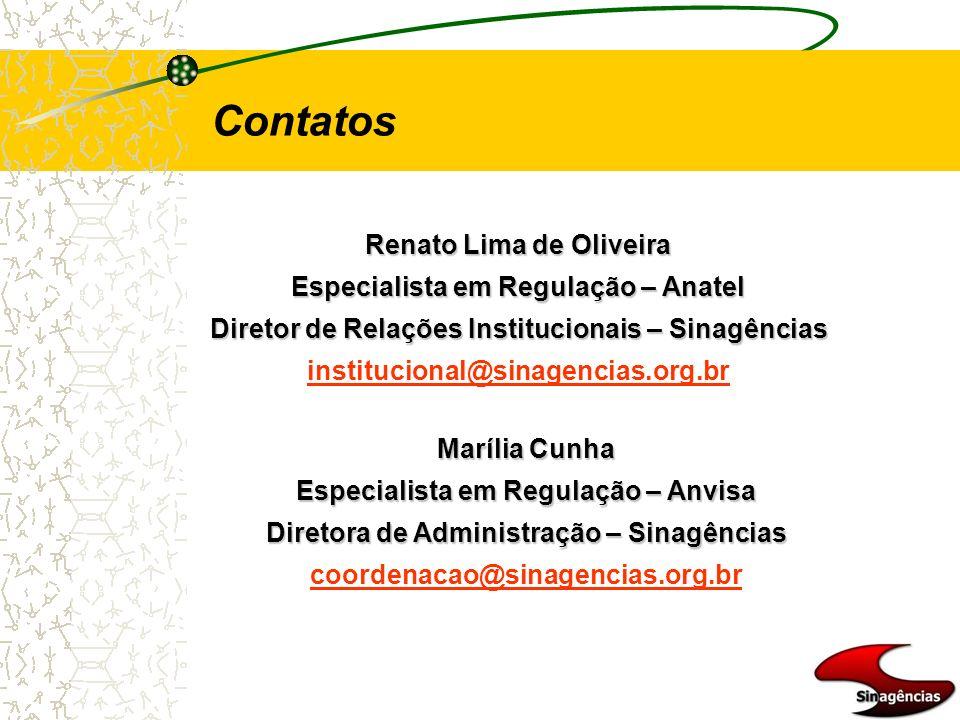 Renato Lima de Oliveira Especialista em Regulação – Anatel Diretor de Relações Institucionais – Sinagências institucional@sinagencias.org.br Contatos