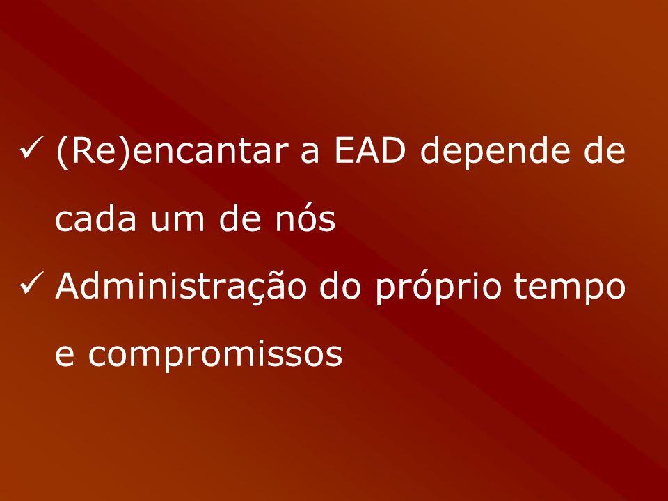 (Re)encantar a EAD depende de cada um de nós Administração do próprio tempo e compromissos