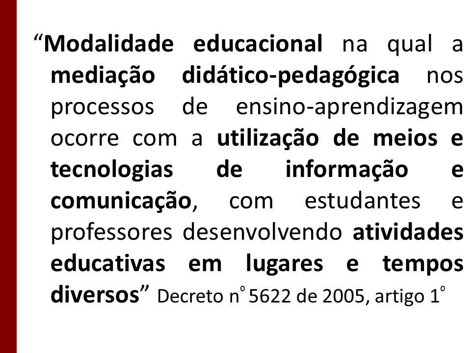 Modalidade educacional na qual a mediação didático-pedagógica nos processos de ensino-aprendizagem ocorre com a utilização de meios e tecnologias de i