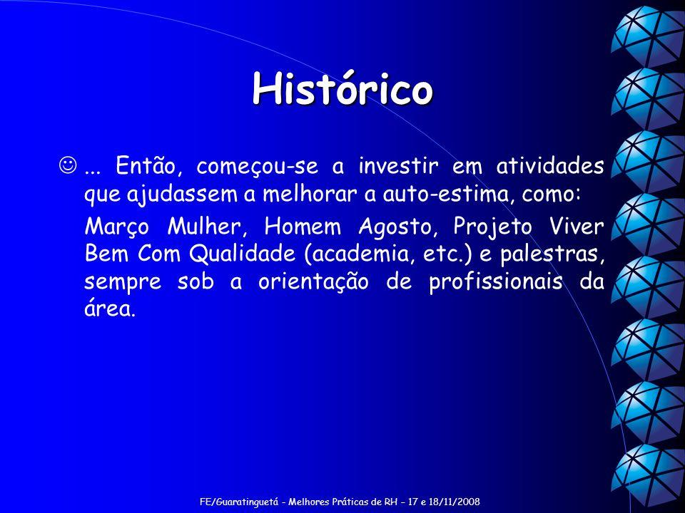 FE/Guaratinguetá - Melhores Práticas de RH – 17 e 18/11/2008 Histórico... Então, começou-se a investir em atividades que ajudassem a melhorar a auto-e