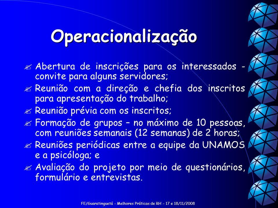 FE/Guaratinguetá - Melhores Práticas de RH – 17 e 18/11/2008 Operacionalização Abertura de inscrições para os interessados - convite para alguns servi