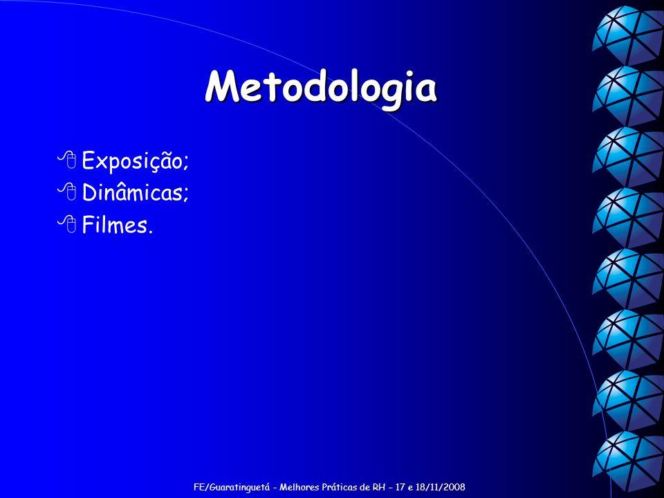 FE/Guaratinguetá - Melhores Práticas de RH – 17 e 18/11/2008 Metodologia Exposição; Dinâmicas; Filmes.