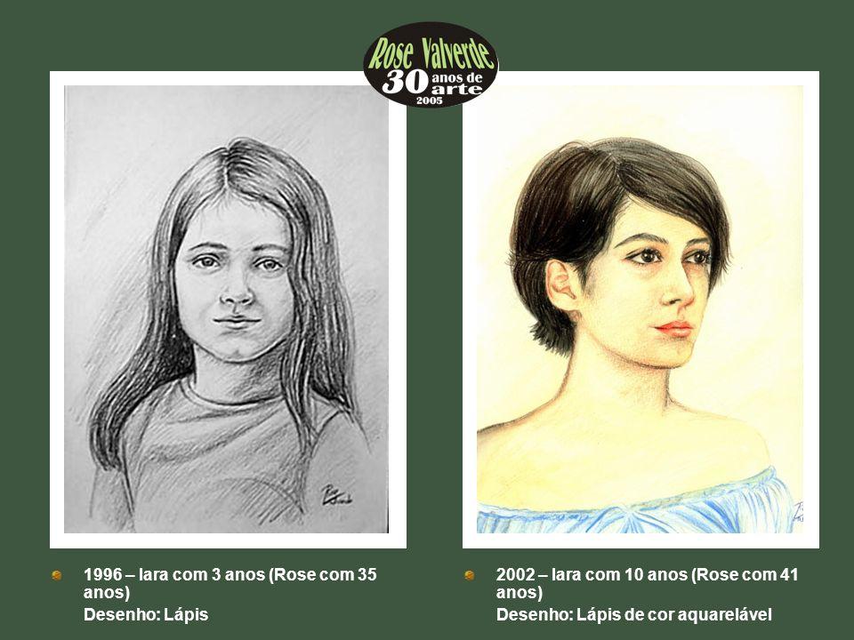 ++ 2002 – Iara com 10 anos (Rose com 41 anos) Desenho: Lápis de cor aquarelável ++ 1996 – Iara com 3 anos (Rose com 35 anos) Desenho: Lápis