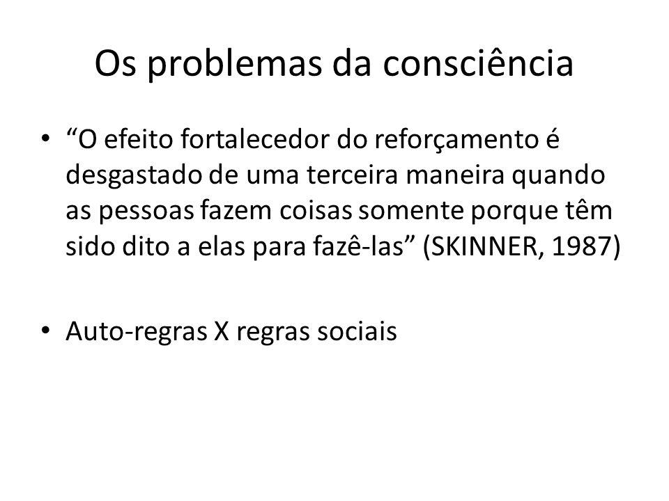 Os problemas da consciência O efeito fortalecedor do reforçamento é desgastado de uma terceira maneira quando as pessoas fazem coisas somente porque t