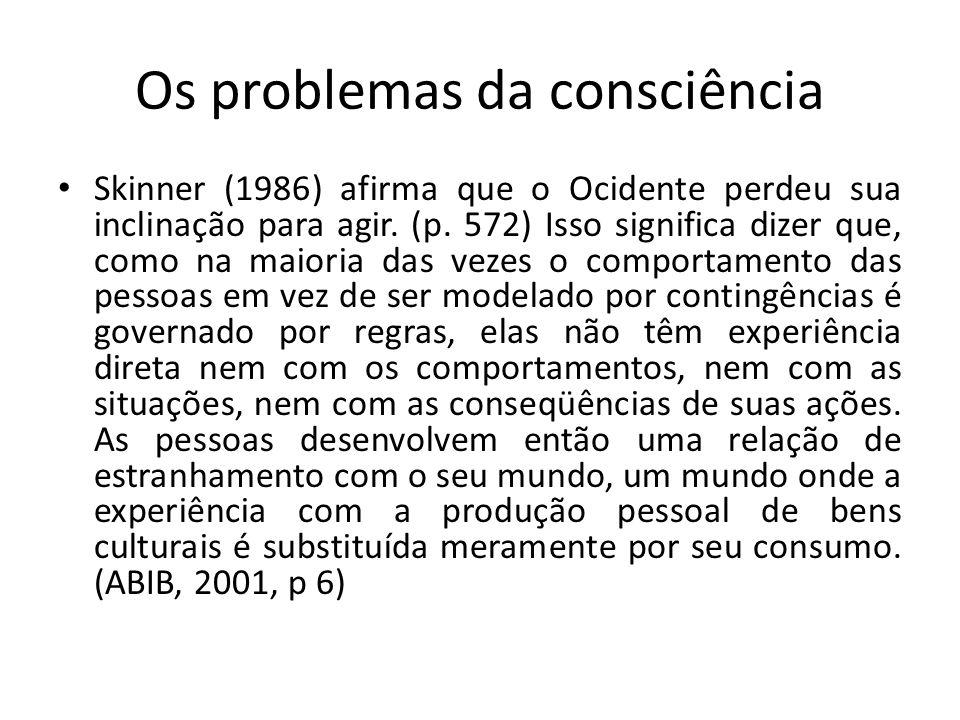 Os problemas da consciência Skinner (1986) afirma que o Ocidente perdeu sua inclinação para agir. (p. 572) Isso significa dizer que, como na maioria d