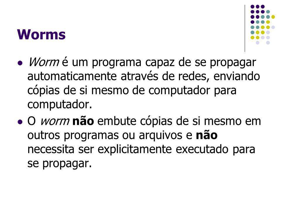 Worms Worm é um programa capaz de se propagar automaticamente através de redes, enviando cópias de si mesmo de computador para computador. O worm não