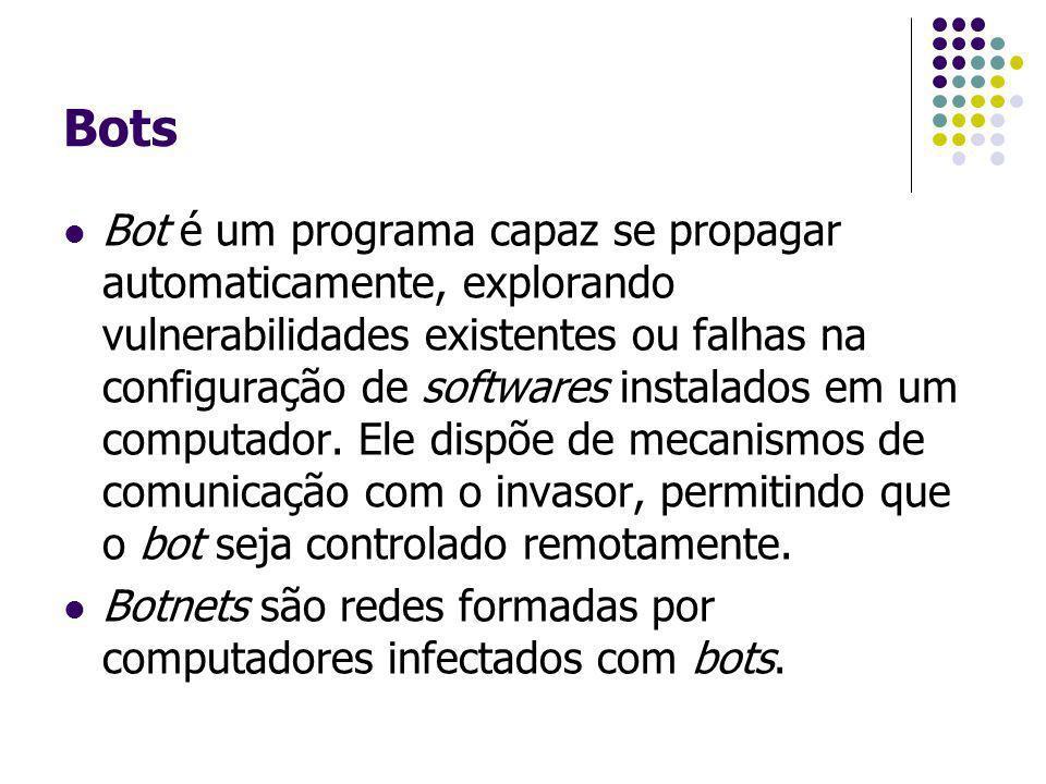 Bots Bot é um programa capaz se propagar automaticamente, explorando vulnerabilidades existentes ou falhas na configuração de softwares instalados em