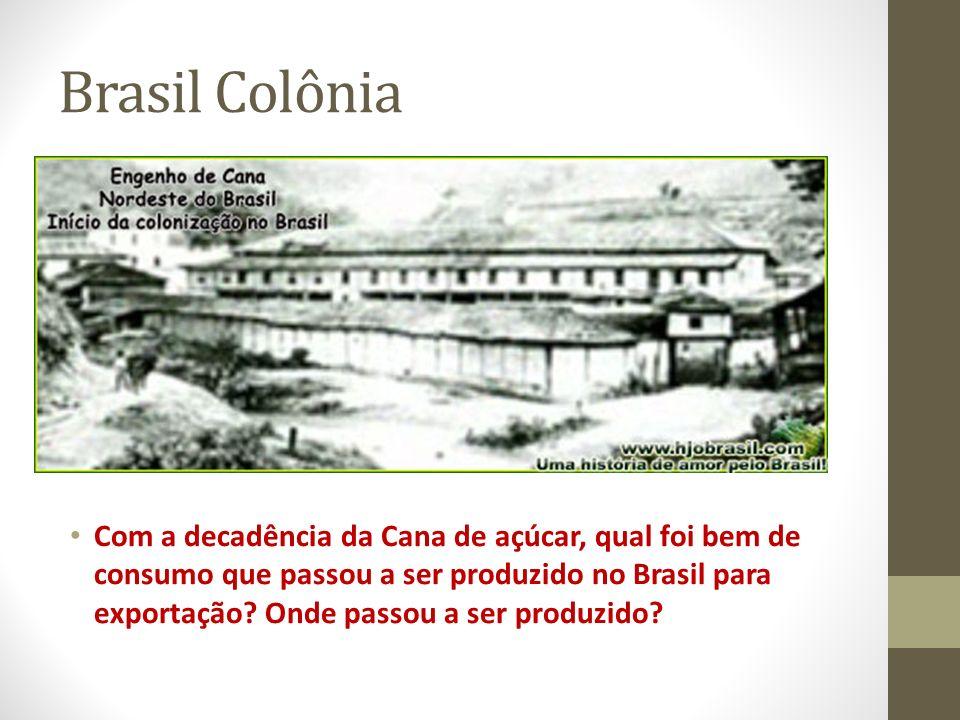 Brasil Colônia Com a decadência da Cana de açúcar, qual foi bem de consumo que passou a ser produzido no Brasil para exportação? Onde passou a ser pro