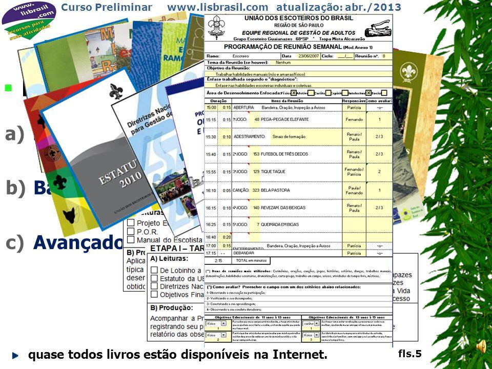 Curso Preliminar www.lisbrasil.com atualização: abr./2013 PLANO DE LEITURA a)Preliminar: o que o Diretor solicitar. b)Básico:. quase todos livros estã