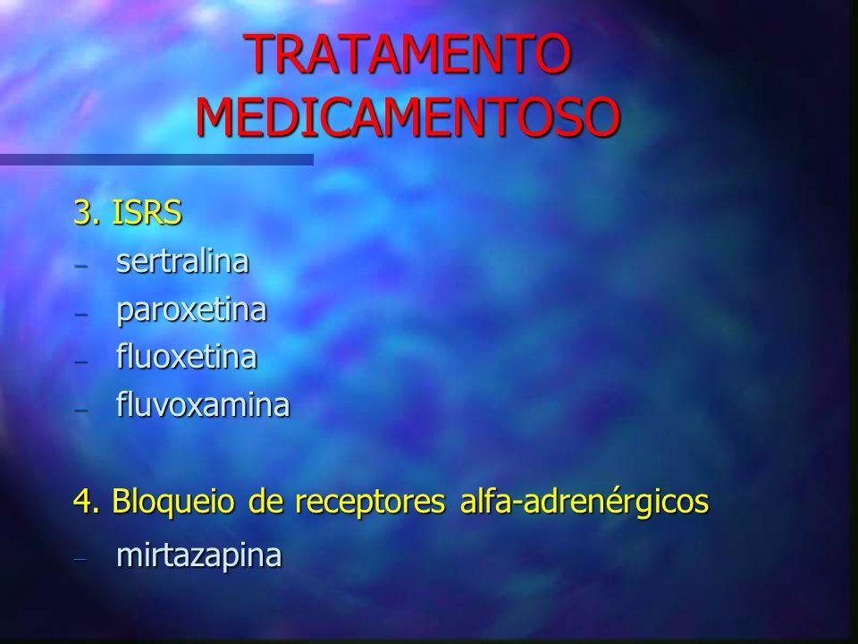 TRATAMENTO MEDICAMENTOSO 3. ISRS sertralina sertralina paroxetina paroxetina fluoxetina fluoxetina fluvoxamina fluvoxamina 4. Bloqueio de receptores a