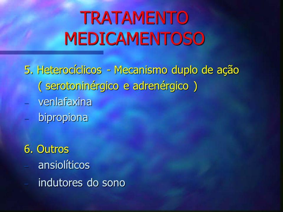 TRATAMENTO MEDICAMENTOSO 5. Heterocíclicos - Mecanismo duplo de ação ( serotoninérgico e adrenérgico ) ( serotoninérgico e adrenérgico ) venlafaxina v