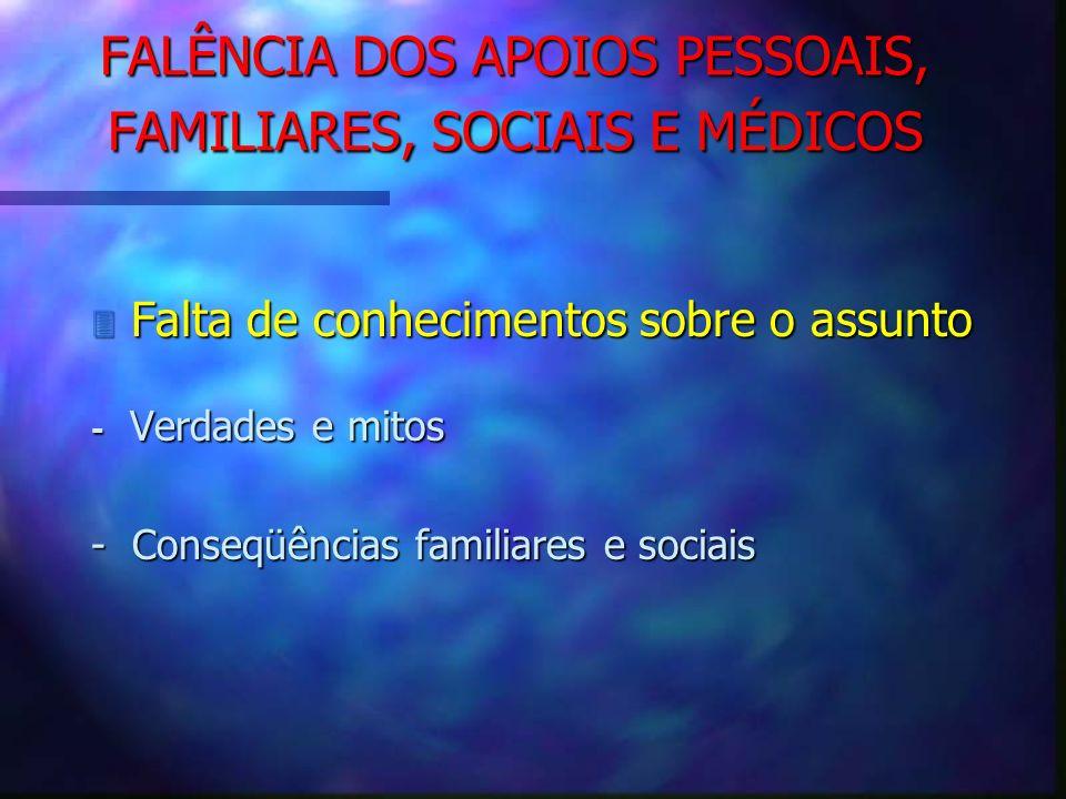 FALÊNCIA DOS APOIOS PESSOAIS, FAMILIARES, SOCIAIS E MÉDICOS 3 Falta de conhecimentos sobre o assunto - Verdades e mitos - Conseqüências familiares e s