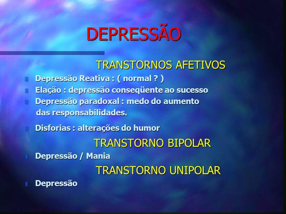 DEPRESSÃO TRANSTORNOS AFETIVOS TRANSTORNOS AFETIVOS 3 Depressão Reativa : ( normal ? ) 3 Elação : depressão conseqüente ao sucesso 3 Depressão paradox