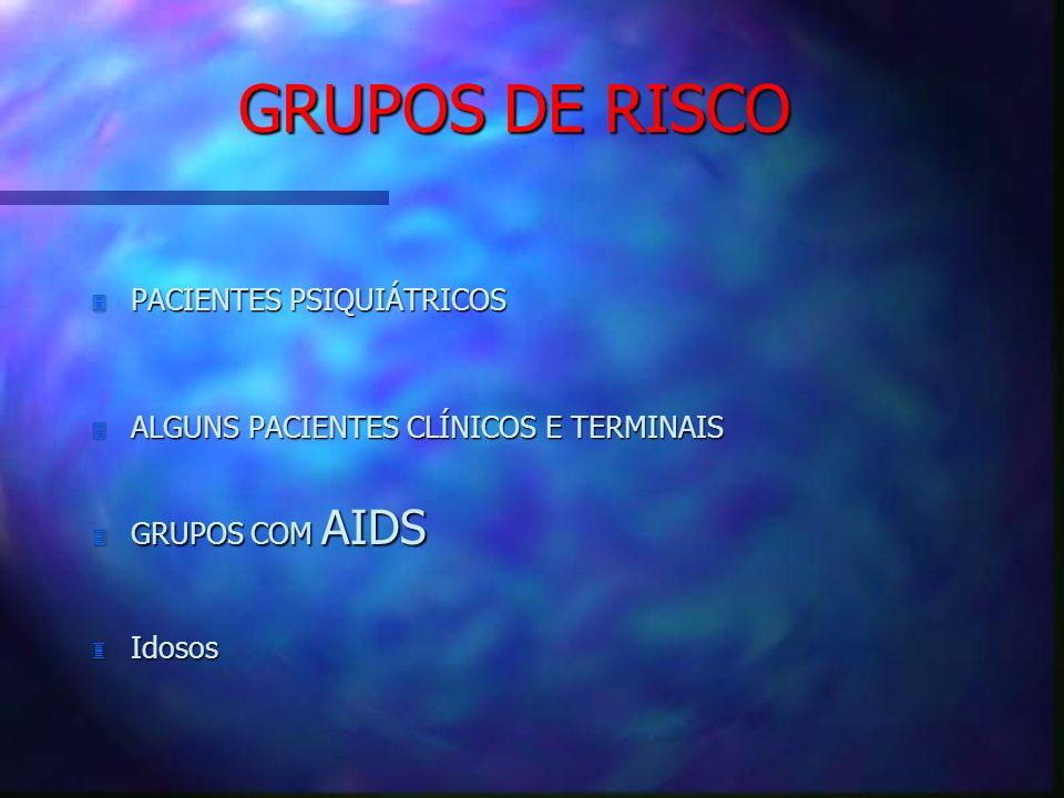 GRUPOS DE RISCO 3 PACIENTES PSIQUIÁTRICOS 3 ALGUNS PACIENTES CLÍNICOS E TERMINAIS 3 GRUPOS COM AIDS 3 Idosos