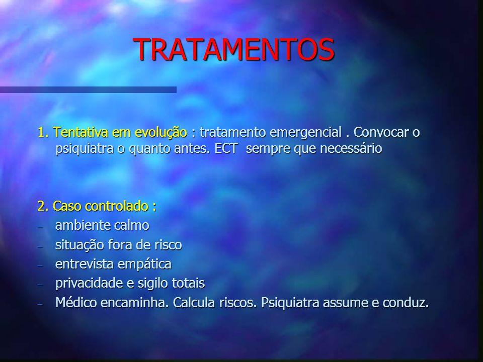 TRATAMENTOS 1. Tentativa em evolução : tratamento emergencial. Convocar o psiquiatra o quanto antes. ECT sempre que necessário 2. Caso controlado : am