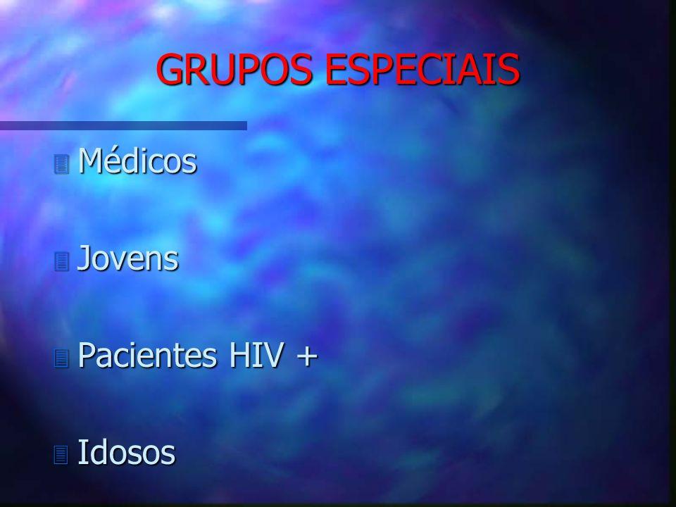 GRUPOS ESPECIAIS 3 Médicos 3 Jovens 3 Pacientes HIV + 3 Idosos
