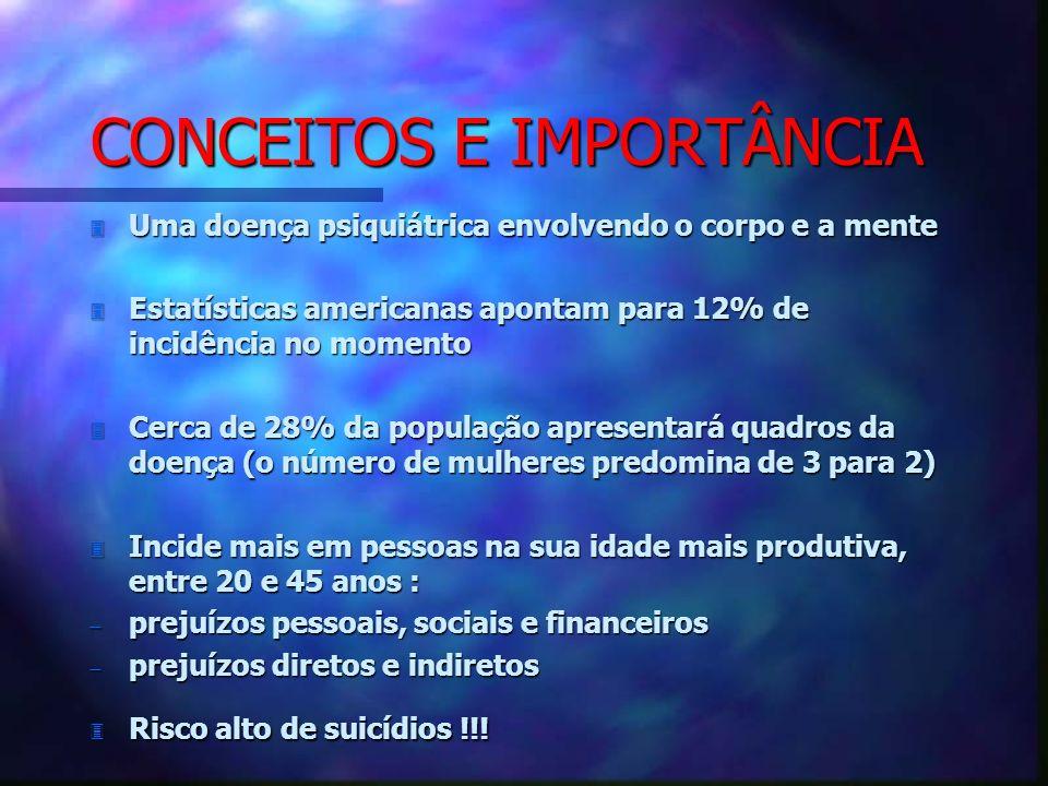 CONCEITOS E IMPORTÂNCIA 3 Uma doença psiquiátrica envolvendo o corpo e a mente 3 Estatísticas americanas apontam para 12% de incidência no momento 3 C