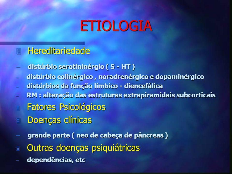 ETIOLOGIA 3 Hereditariedade distúrbio serotininérgio ( 5 - HT ) distúrbio serotininérgio ( 5 - HT ) distúrbio colinérgico, noradrenérgico e dopaminérg
