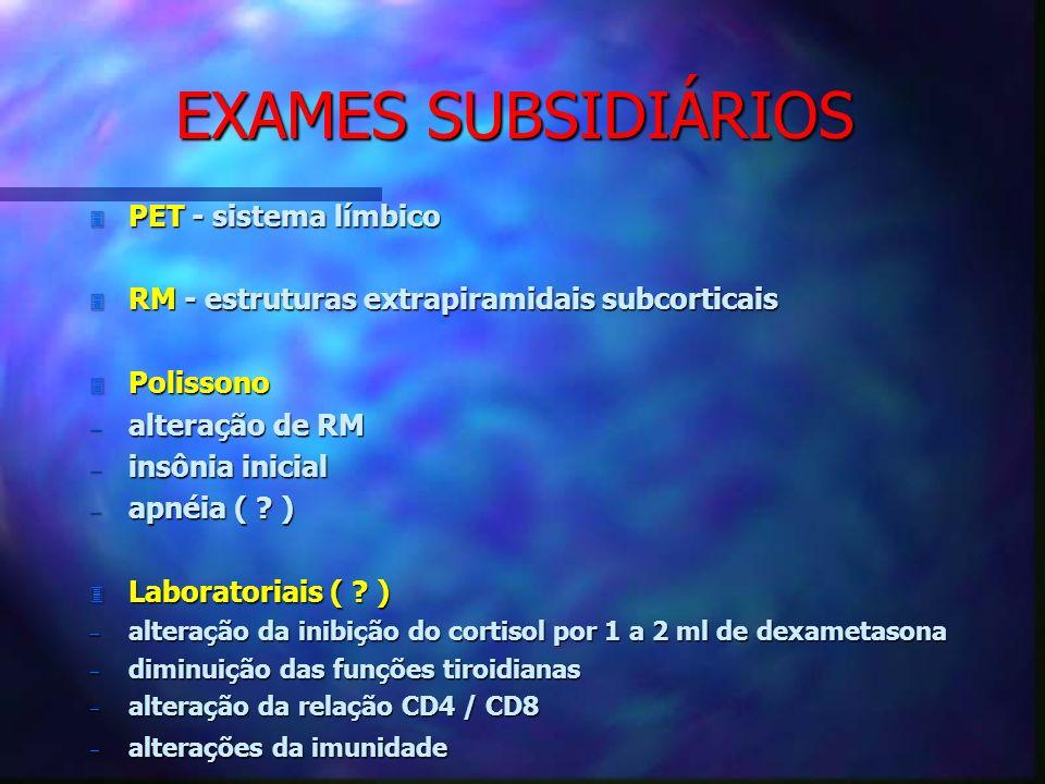 EXAMES SUBSIDIÁRIOS 3 PET - sistema límbico 3 RM - estruturas extrapiramidais subcorticais 3 Polissono alteração de RM alteração de RM insônia inicial