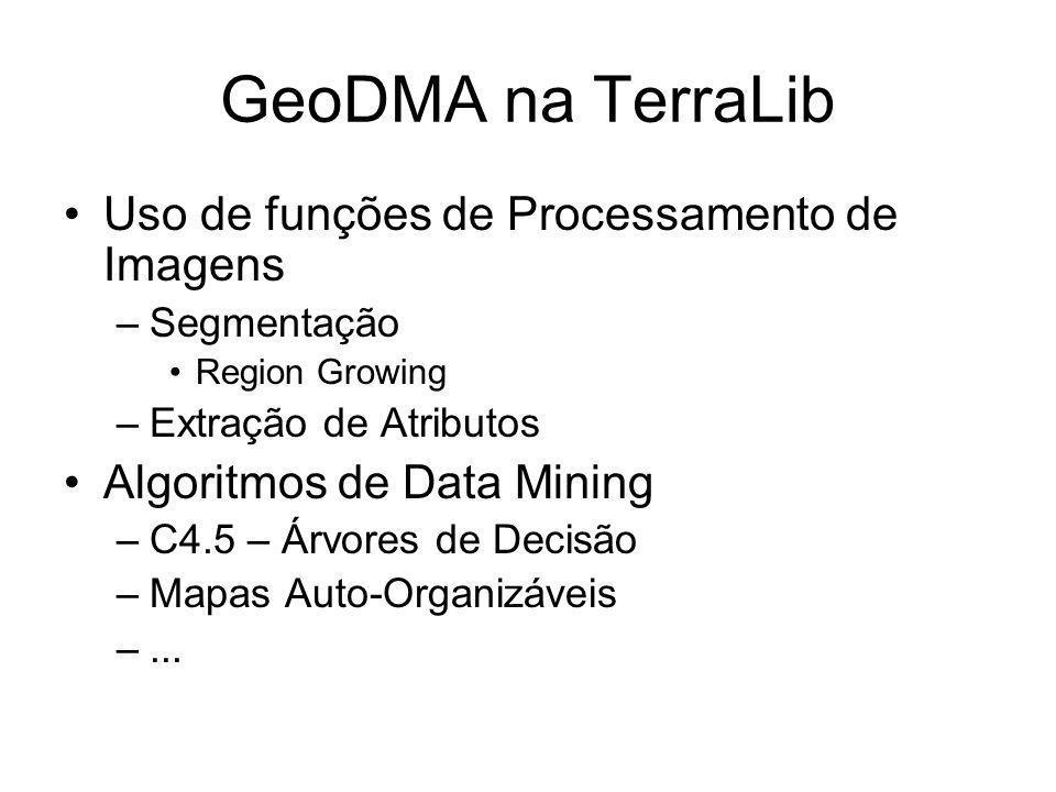 GeoDMA na TerraLib Uso de funções de Processamento de Imagens –Segmentação Region Growing –Extração de Atributos Algoritmos de Data Mining –C4.5 – Árv