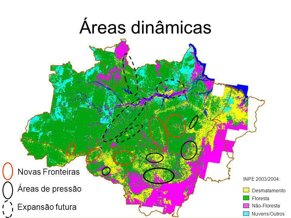 Novas Fronteiras Desmatamento Floresta Não-Floresta Nuvens/Outros INPE 2003/2004: Áreas dinâmicas Áreas de pressão Expansão futura