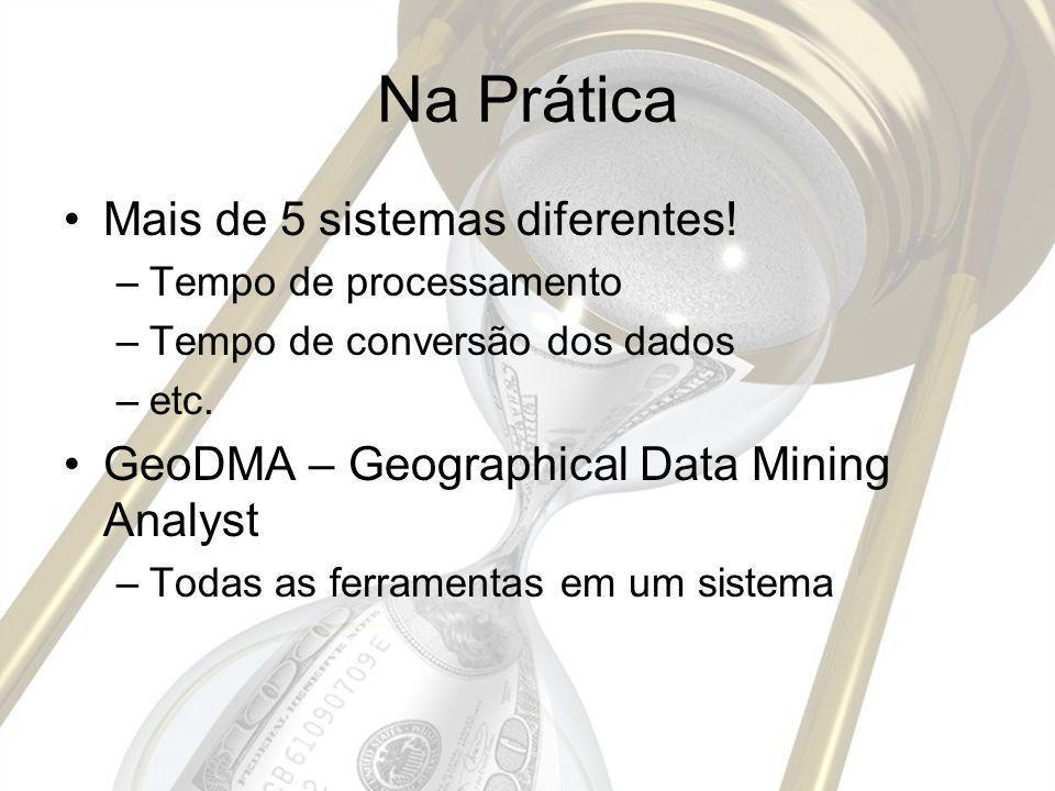 Na Prática Mais de 5 sistemas diferentes! –Tempo de processamento –Tempo de conversão dos dados –etc. GeoDMA – Geographical Data Mining Analyst –Todas