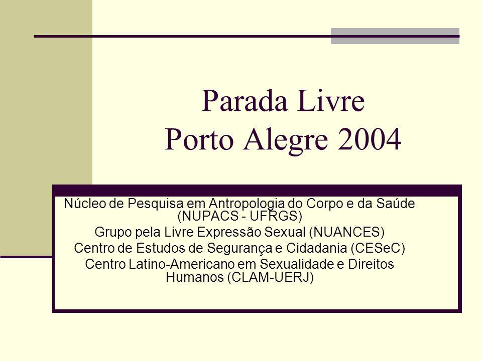 Parada Livre Porto Alegre 2004 Núcleo de Pesquisa em Antropologia do Corpo e da Saúde (NUPACS - UFRGS) Grupo pela Livre Expressão Sexual (NUANCES) Centro de Estudos de Segurança e Cidadania (CESeC) Centro Latino-Americano em Sexualidade e Direitos Humanos (CLAM-UERJ)
