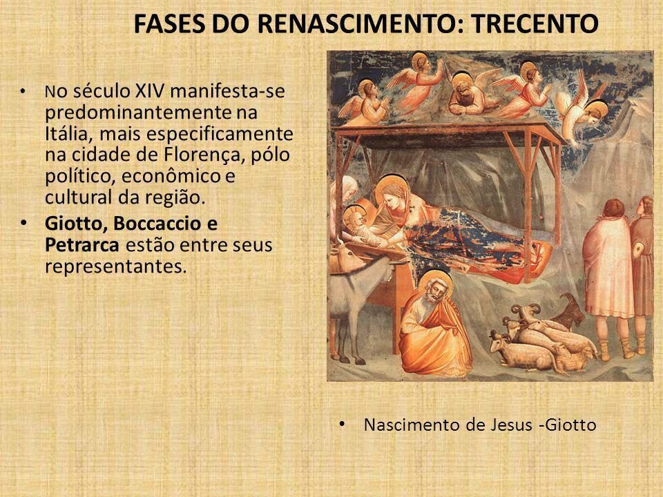 FASES DO RENASCIMENTO: TRECENTO N o século XIV manifesta-se predominantemente na Itália, mais especificamente na cidade de Florença, pólo político, econômico e cultural da região.
